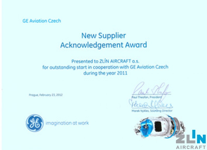 Best new supplier to GE Aviation Czech - award goes to ZLIN AIRCRAFT
